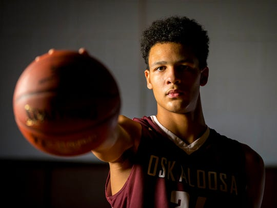 Xavier Foster, a star sophomore at Oskaloosa High School, shown here Oct. 30, 2017, at the high school gym. Foster has become one of the nation's most sought-after basketball prospects. The 6-foot-10, 210-pound forward is considered a consensus top-25 recruit in the 2020 class. He landed three Division I offers before his freshman season at Oskaloosa, and enters his sophomore year with at least two more.