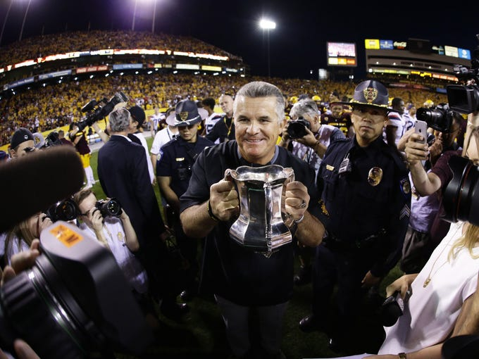 Arizona State head coach Todd Graham takes back the