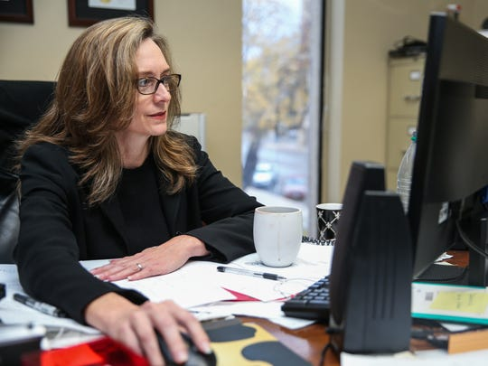 District Attorney Allison Palmer works in her office