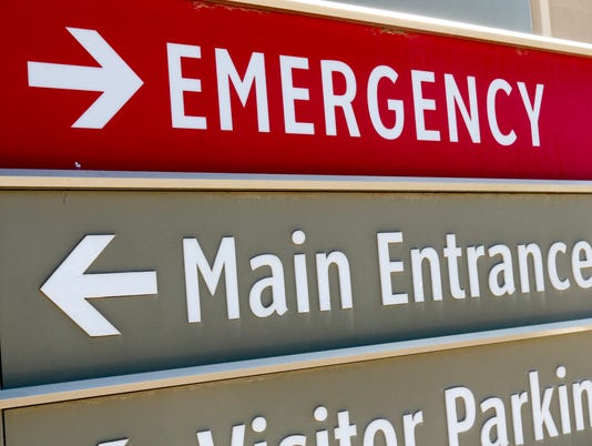 Emergency room one direction main entrance in the other