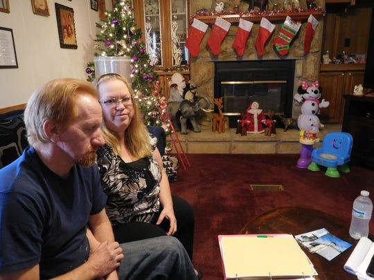 Billy and Rebecca Dula inside their home in Linwood, North Carolina.