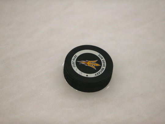 ASU hockey puck at Oceanside Ice Arena on January 12,
