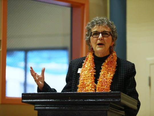 Nancy Wesson-Dodd, president and CEO of YWCA Corpus Christi, addresses a crowd of family and friends as eight women are named Y Women In Career Award honorees Thursday, Jan. 18, 2018, at YWCA Corpus Christi. The women will be honored at a banquet in March.