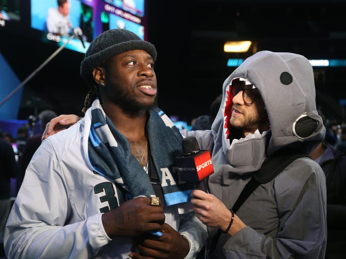 Eagles running back Jay Ajayi is interviewed by Rick