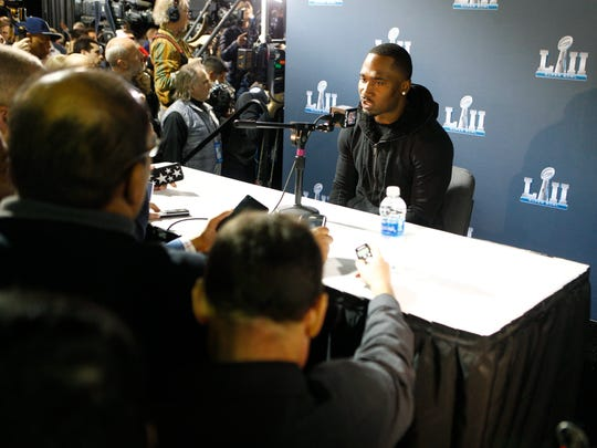 Former Eagle and Patriots running back Dion Lewis speaks to the media during a press conference Tuesday at the Mall of America in Minneapolis.