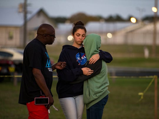 Herman Lindsey talks to people during a vigil for Eric Branch in Gainesville on Thursday, Feb. 22, 2018, as he is sentenced to the death penalty.