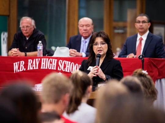"Cissy Reynolds-Perez, principal of Ray High School, introduces state Rep. Todd Hunter (from left), state Sen. Juan ""Chuy"" Hinojosa and state Rep. Abel Herrero during a forum at Ray High School between students and legislators about school safety Tuesday, March 6, 2018."