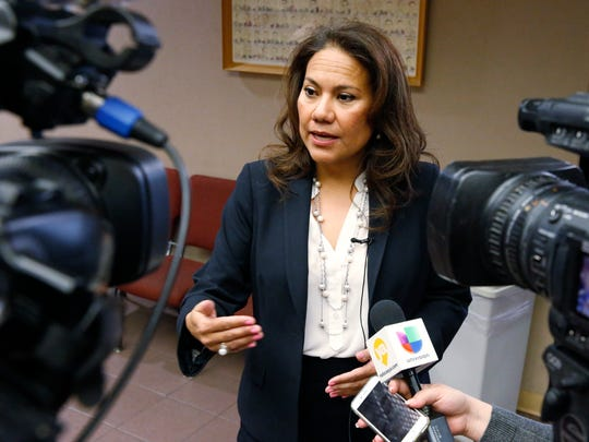 Veronica Escobar stands outside the 205th District Court moments after visiting Judge Roy Ferguson, of the 394th Judicial District Court, ruled April 5 that there was no evidence of fraud connected to the El Paso County elections administrator but ordered no sanctions against former candidates who had filed a lawsuit over the Democratic congressional primary. Escobar, a former El Paso County judge, handily won the Democratic nomination for the 16th Congressional District. The general election is in November. The Texas Civil Practices and Remedies Code allows for sanctions to be issued for frivolous lawsuits.