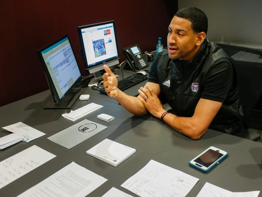 Missouri State head basketball coach Dana Ford talks in his office on Thursday, April 12, 2018.