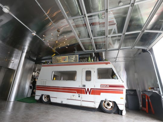 A full sized RV is parked and ready to take orders