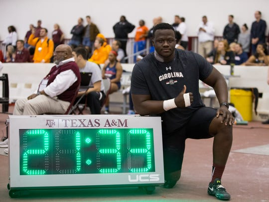 South Carolina's Josh Awotunde won the shot put at the SEC Indoor Championships in February with a record-breaking throw of 21.33 meters.