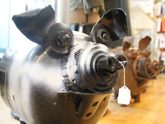 Shaeffer makes pigs and hogs out of old gas canisters.