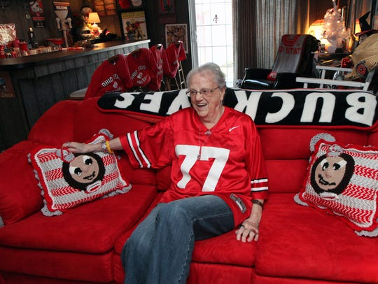 Starley Smith, 79, relaxes in the basement of her Zanesville