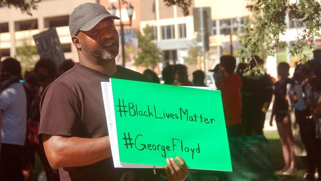 Amarillo resident Tremaine Brown participated in a recent protest rally and march, demanding justice.