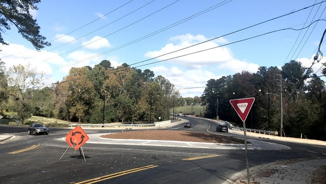 Designed to relieve congestion at Berckmans Road and Ingleside Drive, this roundabout was nearly complete and open to traffic Monday.