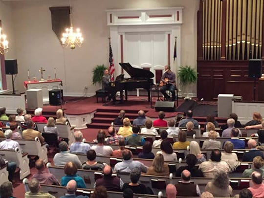 Members and guests of Upper Path Valley Presbyterian Church gather in the sanctuary for a concert with singer/songwriter Fernando Ortega on Sunday, May 15.