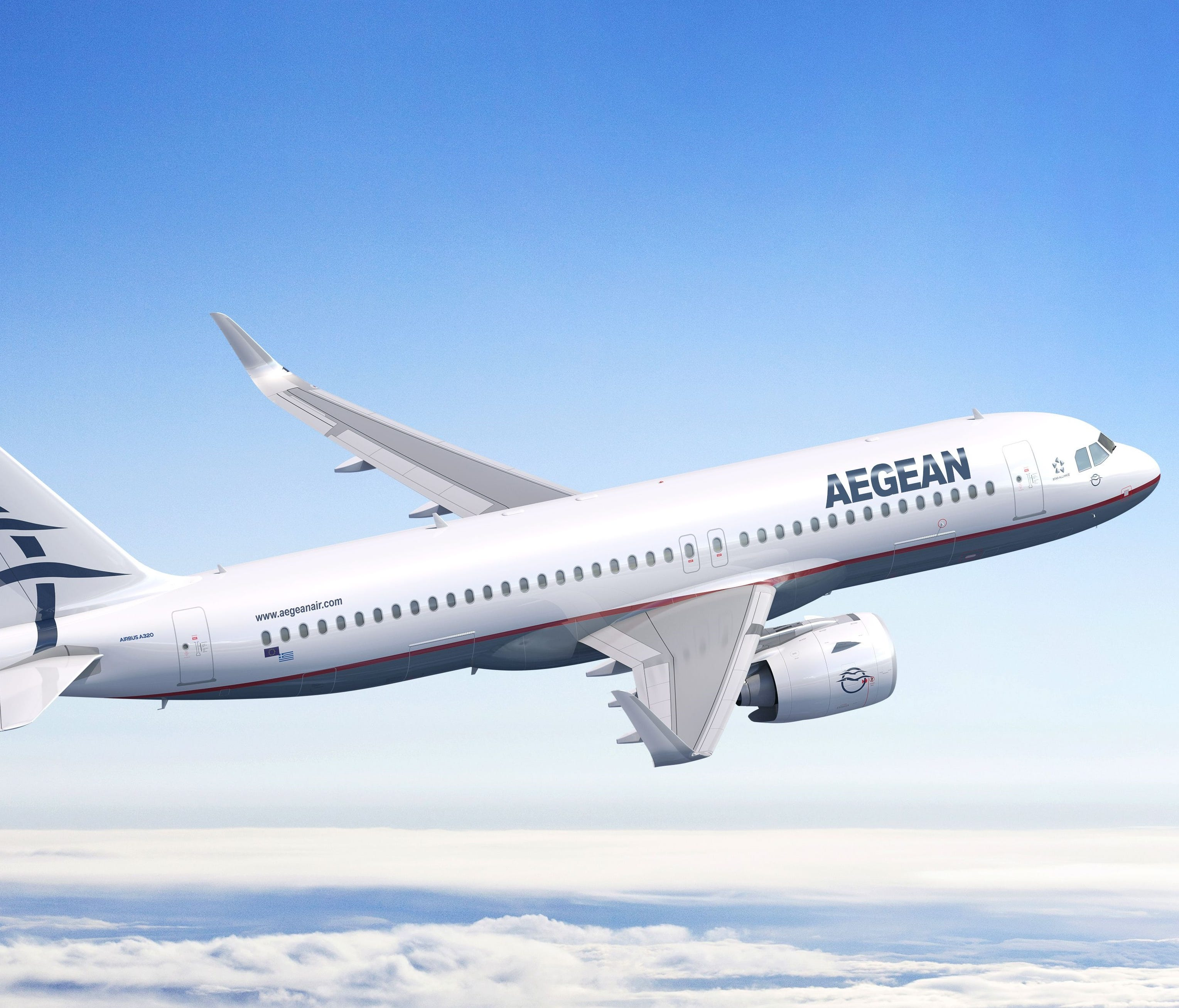 This rendering provided by Airbus shows an A320neo in the colors of Greek carrier Aegean Airlines.