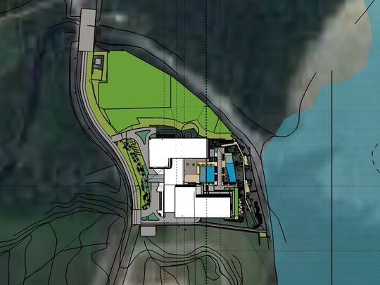 A site map of the Pago Bay Ocean Resort is shown. Barbara Burkhardt, design manager for the development, said the resort will take up 16 percent of the total property.
