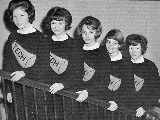 Cheerleaders Nell Nunn, Nancy Moses, Jeanne Babler, Lubda Altman and Lana Elston, pictured from left, made up the B-squad team in 1964.