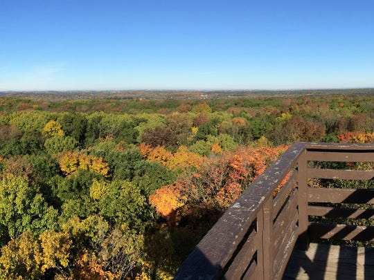 A panoramic of colors of fall as seen from the top