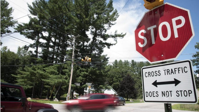 The city of Rochester will make various signage and visibility-focused changes to the intersection of Tebbetts Road and Old Dover Road, shown here in this 2018 photo, to improve safety at an oft-criticized crossing.