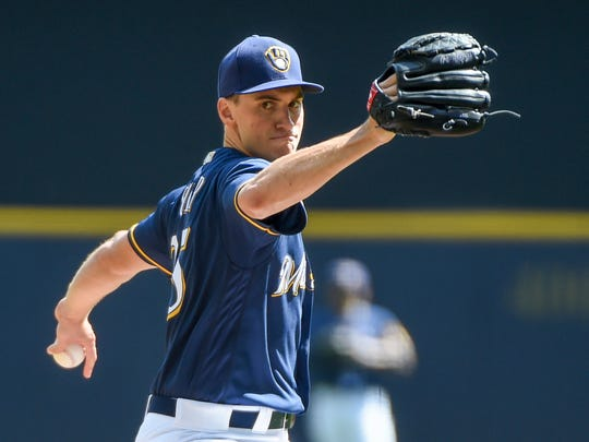 Milwaukee Brewers pitcher Brent Suter (35) throws a pitch in the first inning against the Washington Nationals at Miller Park.