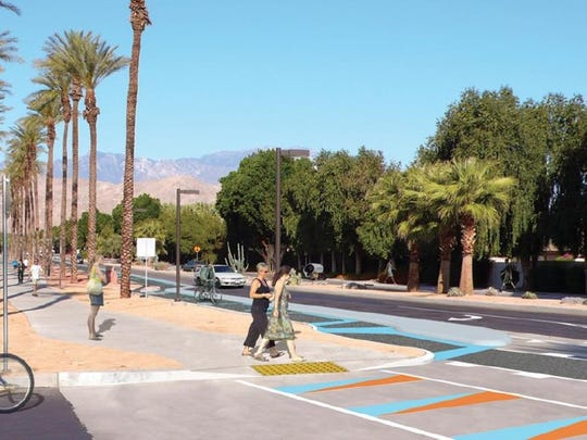 A rendering shows what the striped designs would look like along the CV Link in Palm Desert.