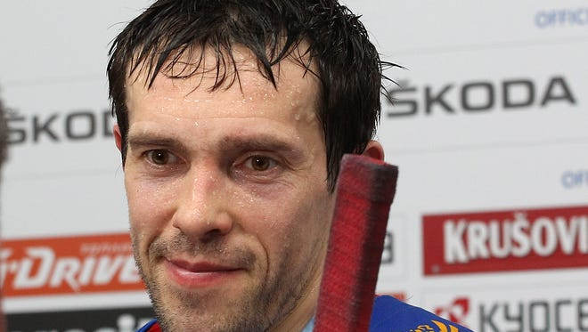 Pavel Datsyuk of Russia speaks to media after the 2016 IIHF World Championship bronze medal game May 22 in Moscow.