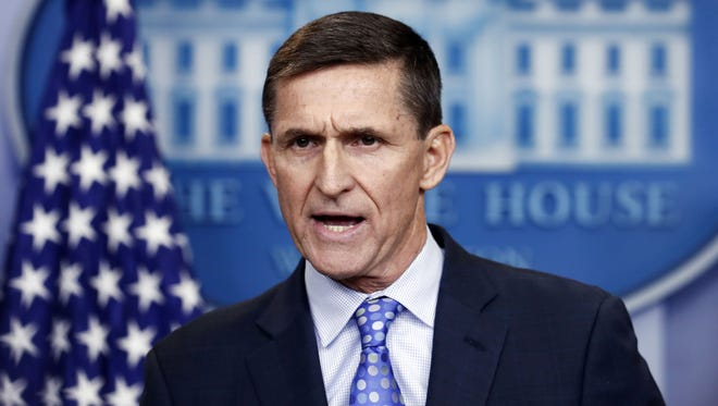 In this Feb. 1, 2017, file photo, Michael Flynn speaks during the daily news briefing at the White House.