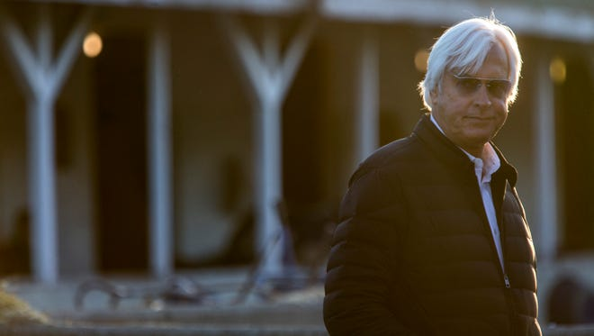Trainer Bob Baffert cast a weary eye on the crush of media and spectators at his barn on the backside of Churchill Downs. Baffert has the favorite Justify as well as Solomini in the race. May 1, 2018.