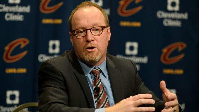 Cleveland Cavaliers general manager David Griffin talks with the media before the game between the Cleveland Cavaliers and the Chicago Bulls at Quicken Loans Arena.