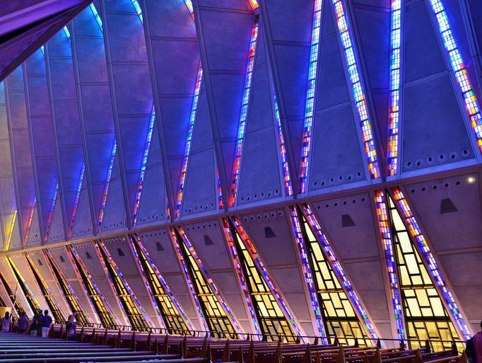 The 150-foot tall Cadet  Chapel all-faiths house                                                          of worship                                                          cons