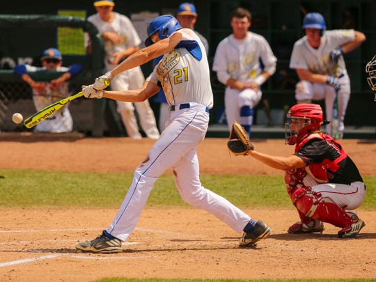 Martensdale-St. Marys' Brady Gavin drives the ball for a single against Akron-Westfield during their Class 1A semifinal game Thursday, July 27, 2017, at the Iowa high school state baseball tournament at Principal Park in Des Moines.