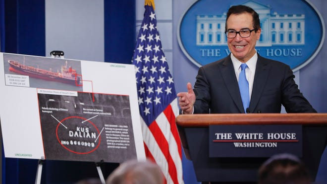 Treasury Secretary Steven Mnuchin speaks during a press briefing at the White House Friday. The Trump administration announced new sanctions on more than 50 vessels, shipping companies and trade businesses in its latest bid to pressure North Korea over its nuclear program. (AP Photo/Pablo Martinez Monsivais) ORG XMIT: DCPM104