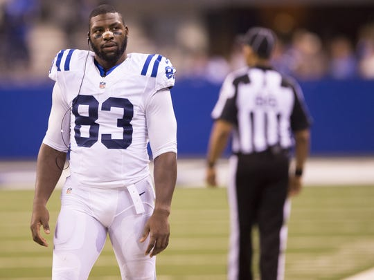 Dwayne Allen, tight end for the Colts, on the sidelines during second quarter action, Colts vs. Baltimore Ravens, preseason at Lucas Oil Stadium, Saturday, Aug. 20, 2016.