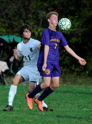 Rhinebeck High School's Ryan Euell controls the ball in a game against Spackenkill last season.
