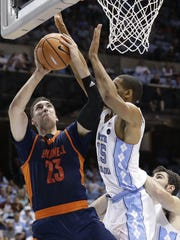 Zach Thomas (23) is Bucknell's leading scorer and rebounder, and was named the Patriot League's player of the year.