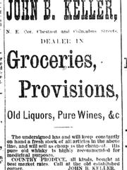 "This ad for John B. Keller's grocery store appeared in the Lancaster Gazette on May 22, 1879. Note: ""His pure old whisky is highly recommended for medicinal purposes."""
