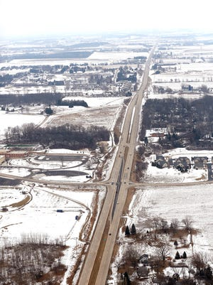 An aerial view from February shows State 23 east of Fond du Lac.
