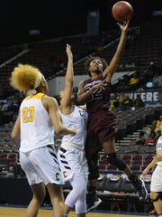 The Shore's Keyera Eaton with the layup against Coppin State University at the MEAC Basketball Championships on Monday, March 6, 2017 in Norfolk, Va.