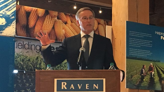 Dan Rykhus, CEO of Sioux Falls-based Raven Industries, announced plans for the company to donate $5 million to South Dakota State University to build a Precision Agriculture Facility.