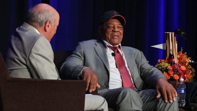 San Francisco baseball broadcaster Marty Lurie interviews 84-year-old Willie Mays during a Barbara Sinatra Children's Center fundraiser attended by over 600 guests earlier this month.