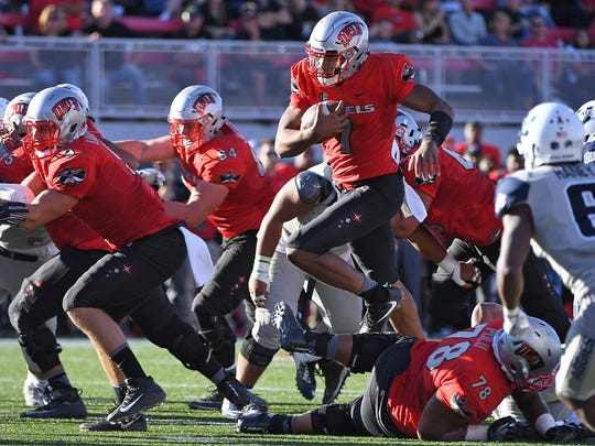 UNLV quarterback Armani Rogers is a dynamic runner