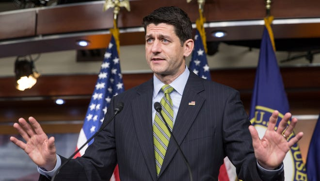 Speaker of the House Paul Ryan, R-Wis., takes questions from reporters at a weekly news conference on Capitol Hill in Washington.