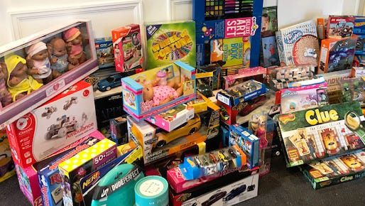 Weichert collected many toys for the 2017 holidays and distributed them through agencies for those in need.