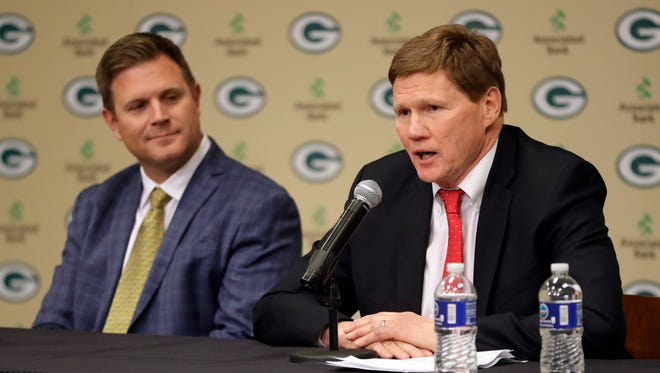 Green Bay Packers president and CEO Mark Murphy and general manager Brian Gutekunst speak to the media on Jan. 8, 2018, at Lambeau Field.