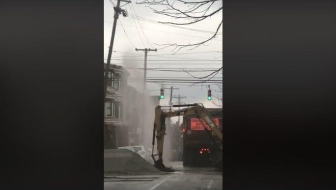 Friday's scattered showers also came from the ground up when a water main broke at the intersection of King and Pine streets in York.