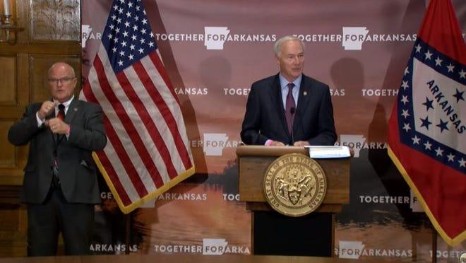 Eddie Schmeckenber and Governor Asa Hutchinson announce the formation of the Governor's COVID-19 Winter Task Force