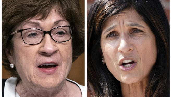 This pair of 2020 file photos shows incumbent U.S. Sen. Susan Collins, R-Maine, left, and Maine House Speaker Sara Gideon, D-Freeport, right, who are running in the Nov. 3, 2020, election to represent Maine in the U.S. Senate.
