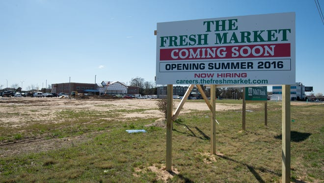 View of the sign along Del. 1 for the new Fresh Market coming to the Rehoboth Gateway shopping center in Rehoboth.